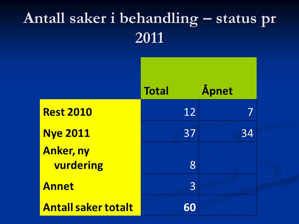 Antall saker i behandling – status pr 2011