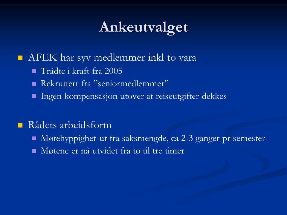 Ankeutvalget AFEK har syv medlemmer inkl to vara Rådets arbeidsform