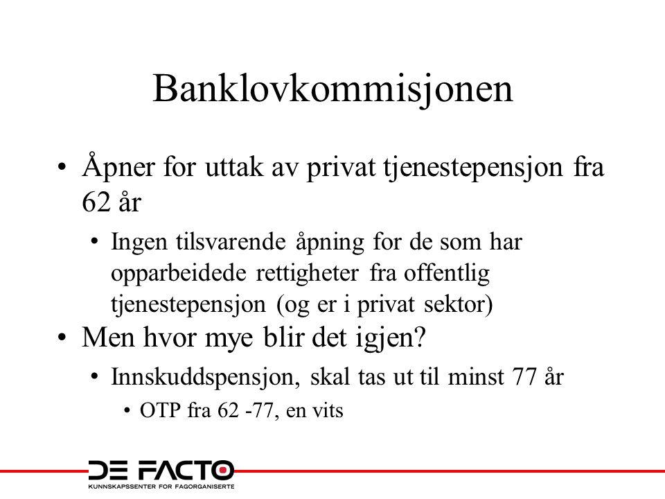 Banklovkommisjonen Åpner for uttak av privat tjenestepensjon fra 62 år