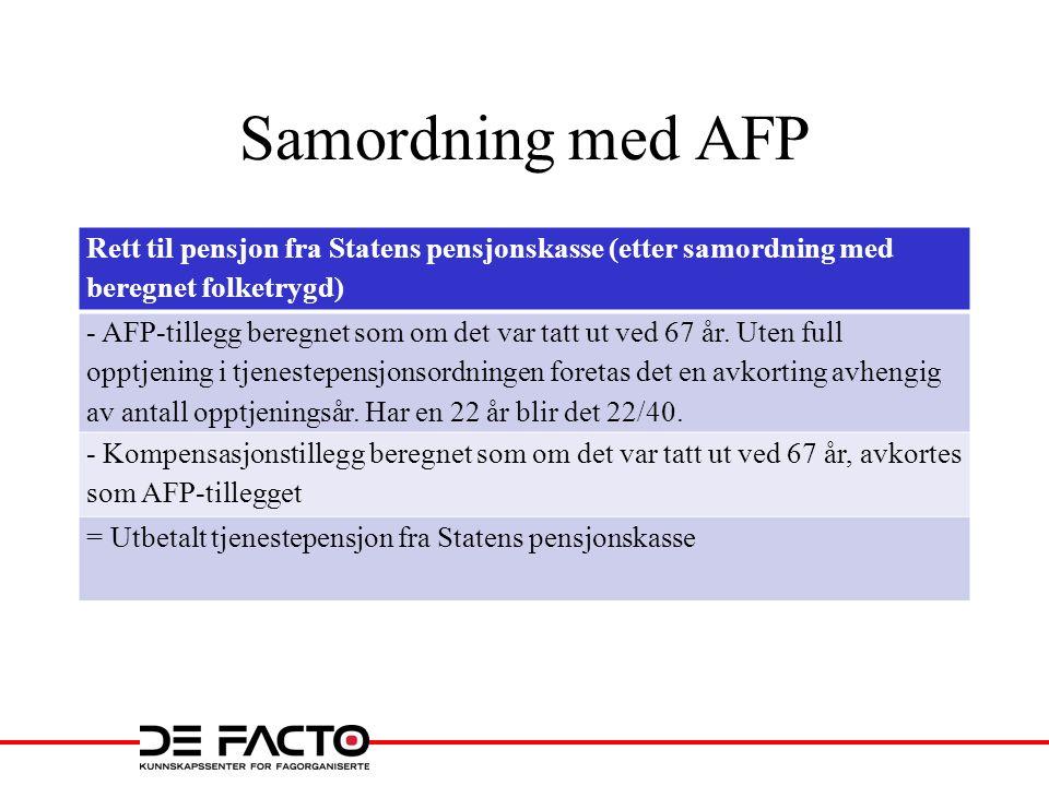 Samordning med AFP Rett til pensjon fra Statens pensjonskasse (etter samordning med beregnet folketrygd)