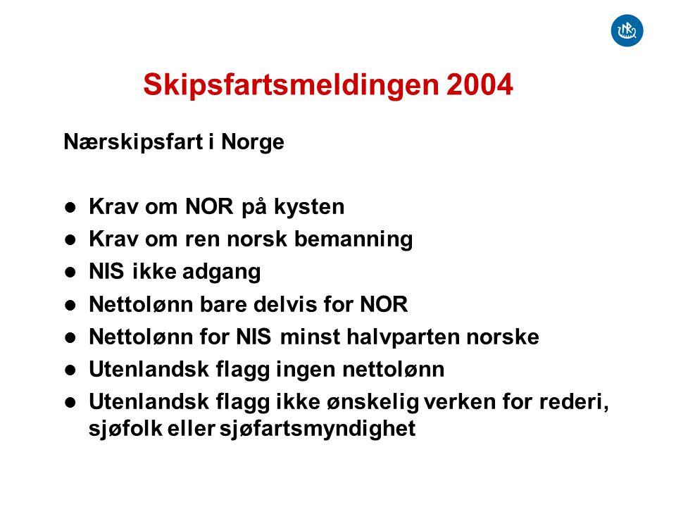 Skipsfartsmeldingen 2004 Nærskipsfart i Norge Krav om NOR på kysten