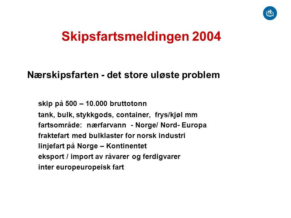 Skipsfartsmeldingen 2004 Nærskipsfarten - det store uløste problem