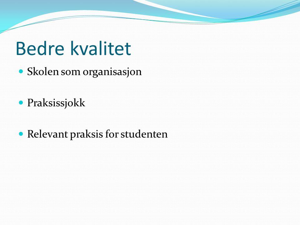 Bedre kvalitet Skolen som organisasjon Praksissjokk