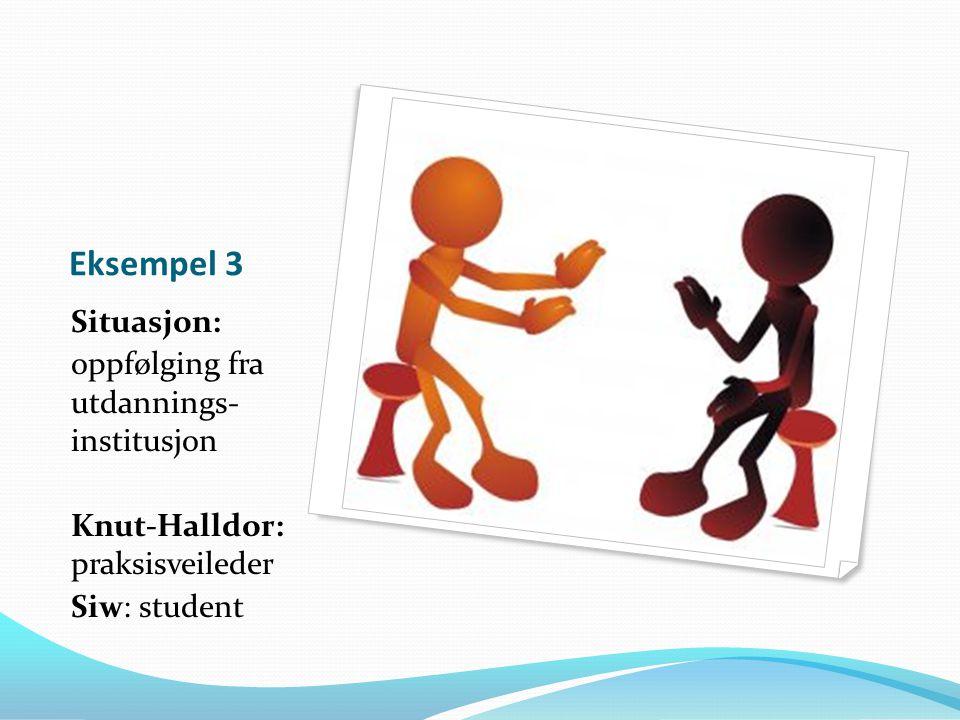 Eksempel 3 Situasjon: oppfølging fra utdannings- institusjon