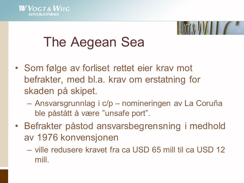 The Aegean Sea Som følge av forliset rettet eier krav mot befrakter, med bl.a. krav om erstatning for skaden på skipet.