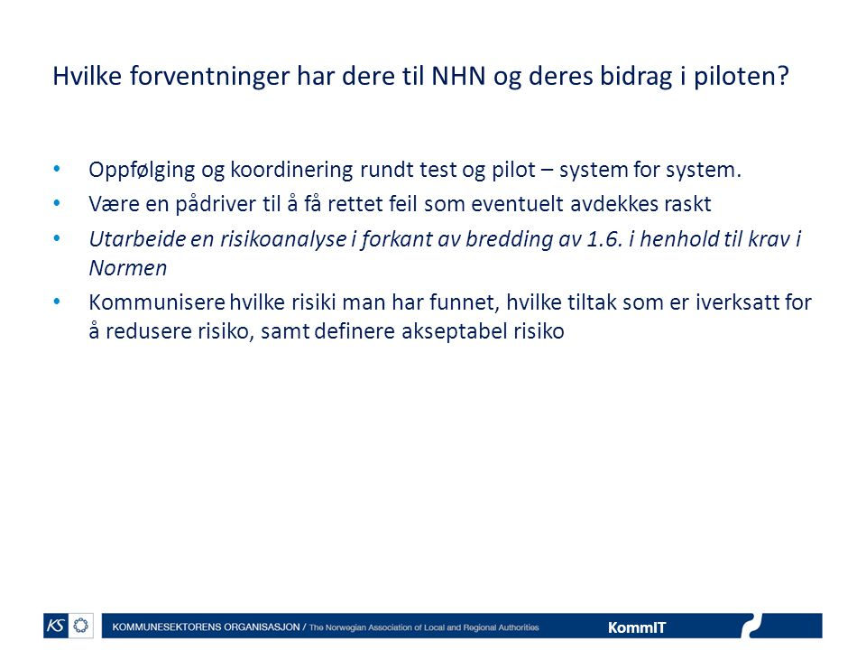 Hvilke forventninger har dere til NHN og deres bidrag i piloten