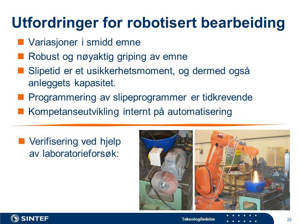 Utfordringer for robotisert bearbeiding