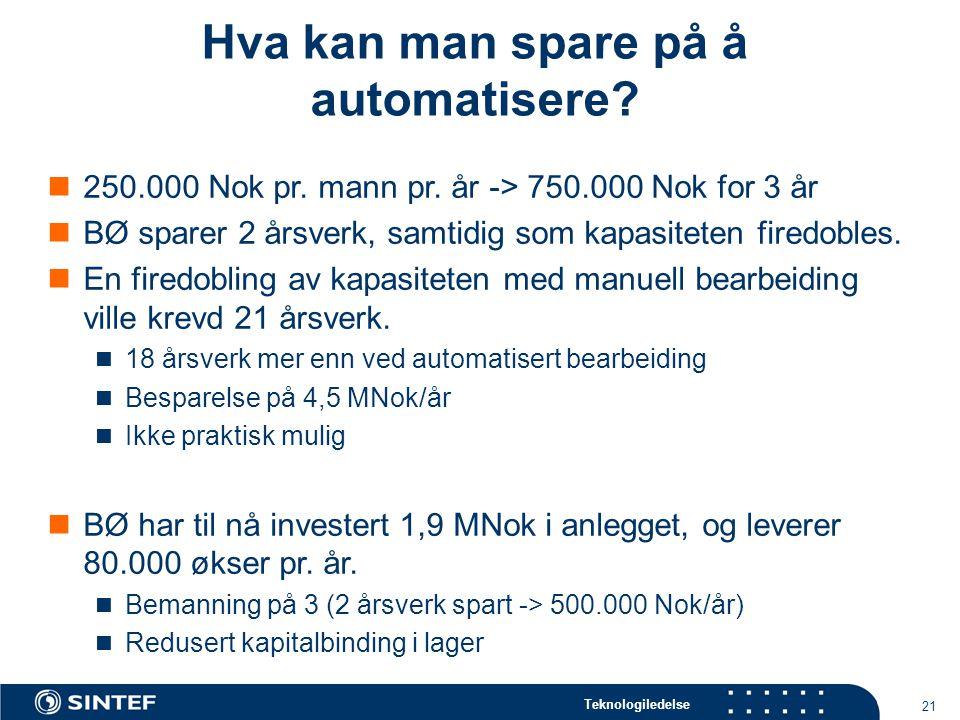 Hva kan man spare på å automatisere