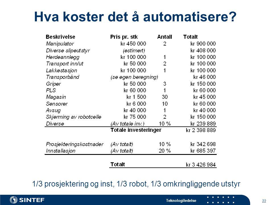 Hva koster det å automatisere