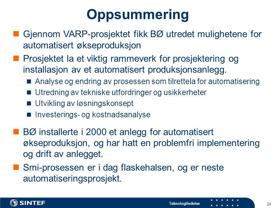 Oppsummering Gjennom VARP-prosjektet fikk BØ utredet mulighetene for automatisert økseproduksjon.