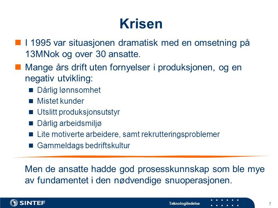 Krisen I 1995 var situasjonen dramatisk med en omsetning på 13MNok og over 30 ansatte.