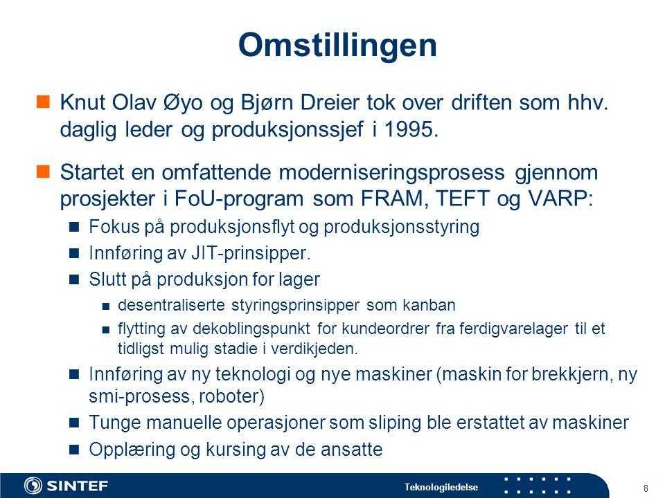 Omstillingen Knut Olav Øyo og Bjørn Dreier tok over driften som hhv. daglig leder og produksjonssjef i 1995.