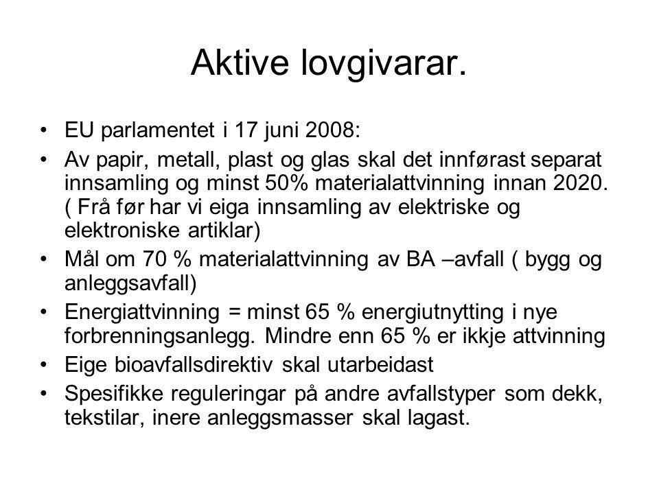 Aktive lovgivarar. EU parlamentet i 17 juni 2008:
