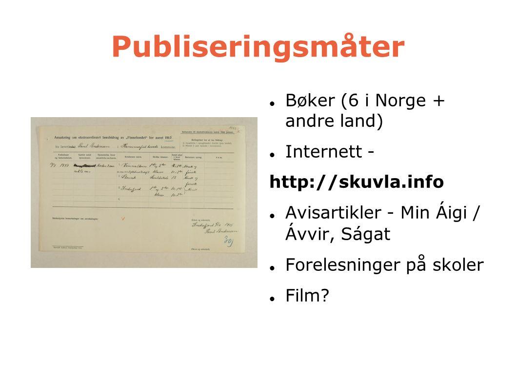 Publiseringsmåter Bøker (6 i Norge + andre land) Internett -