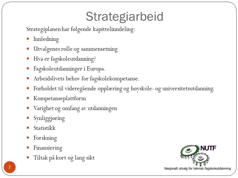 Strategiarbeid Strategiplanen har følgende kapittelinndeling: