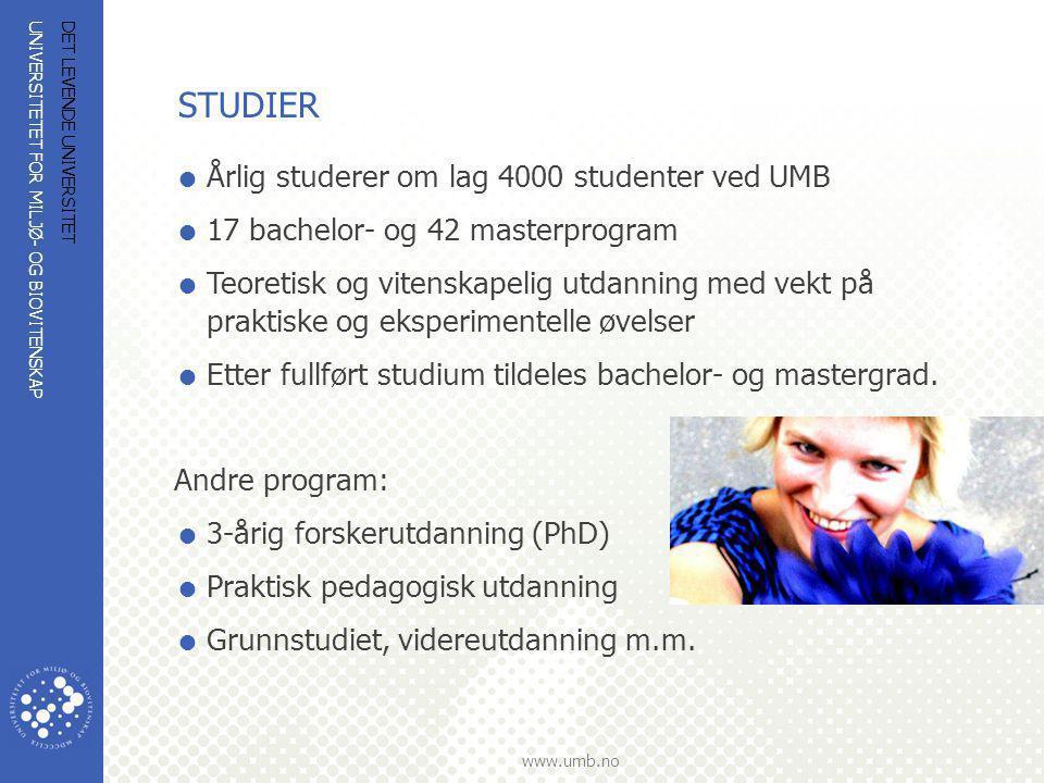 STUDIER Årlig studerer om lag 4000 studenter ved UMB