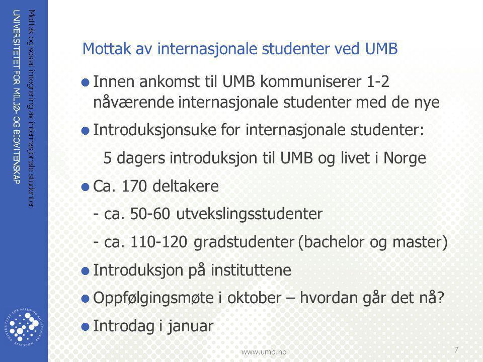 Mottak av internasjonale studenter ved UMB