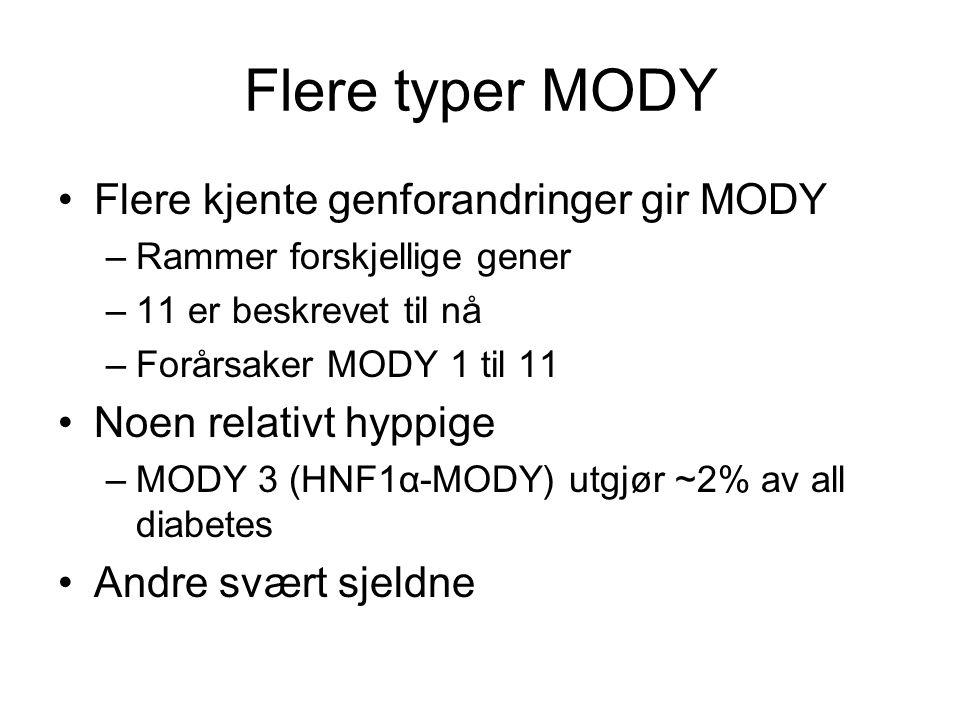 Flere typer MODY Flere kjente genforandringer gir MODY