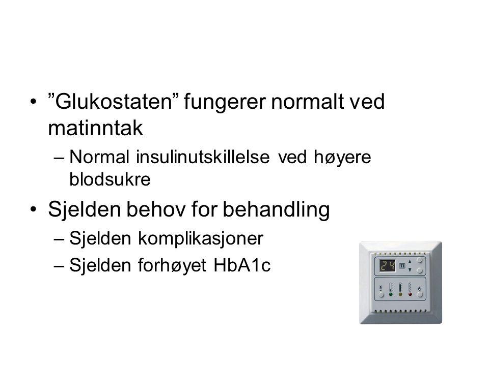 Glukostaten fungerer normalt ved matinntak
