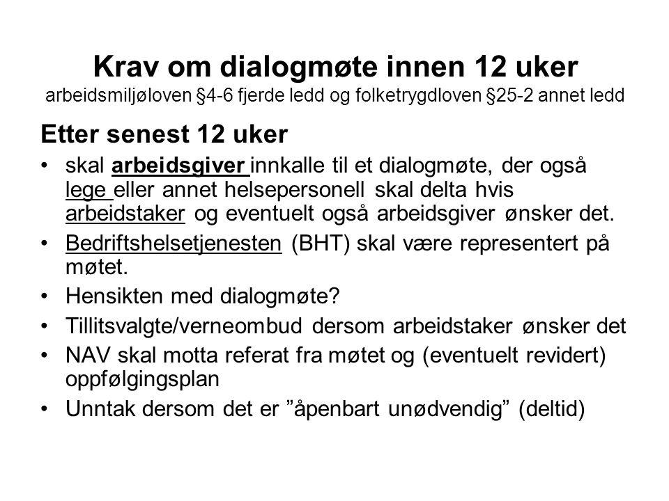Krav om dialogmøte innen 12 uker arbeidsmiljøloven §4-6 fjerde ledd og folketrygdloven §25-2 annet ledd