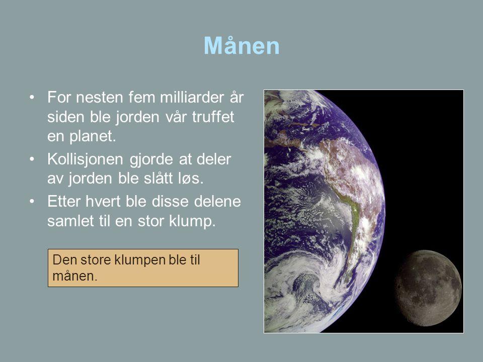 Månen For nesten fem milliarder år siden ble jorden vår truffet en planet. Kollisjonen gjorde at deler av jorden ble slått løs.