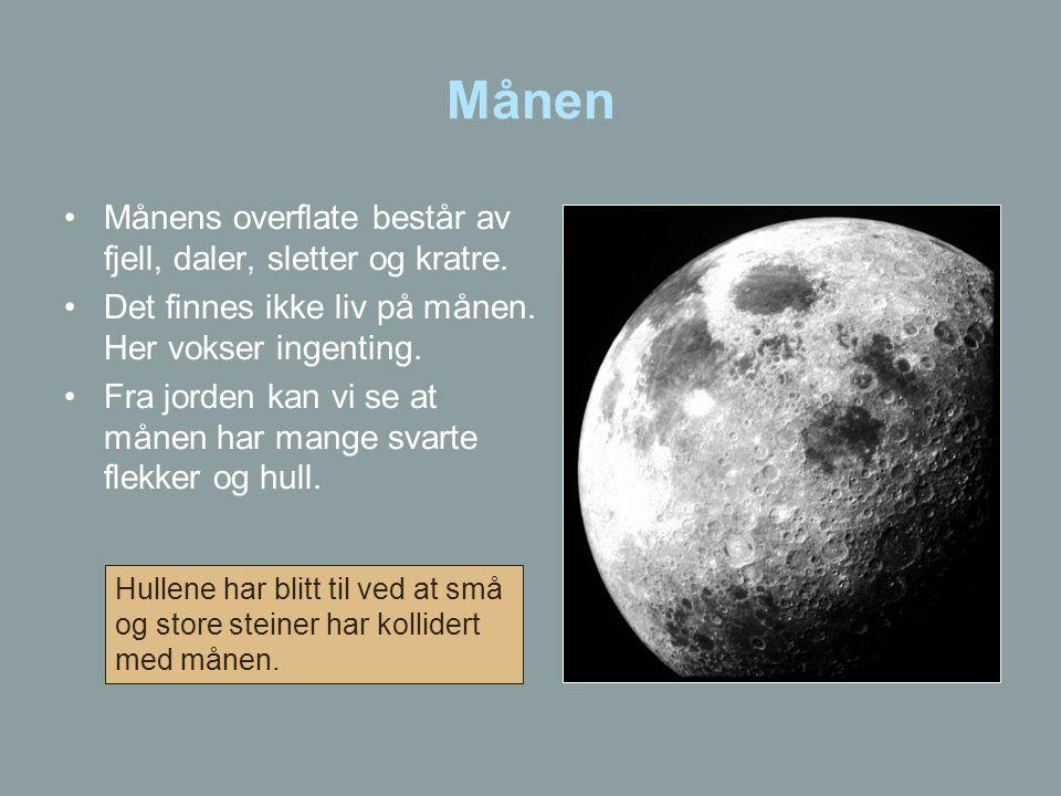 Månen Månens overflate består av fjell, daler, sletter og kratre.