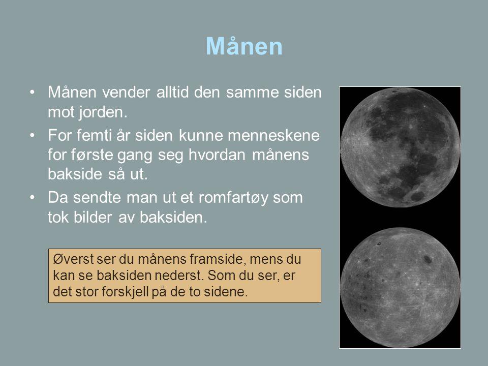 Månen Månen vender alltid den samme siden mot jorden.