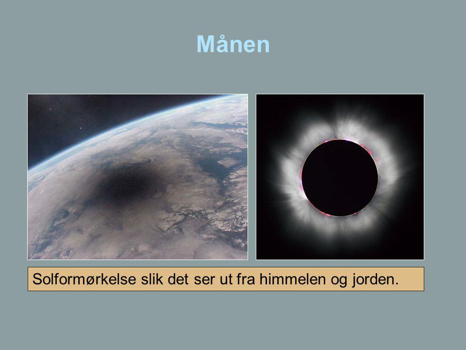 Månen Solformørkelse slik det ser ut fra himmelen og jorden.