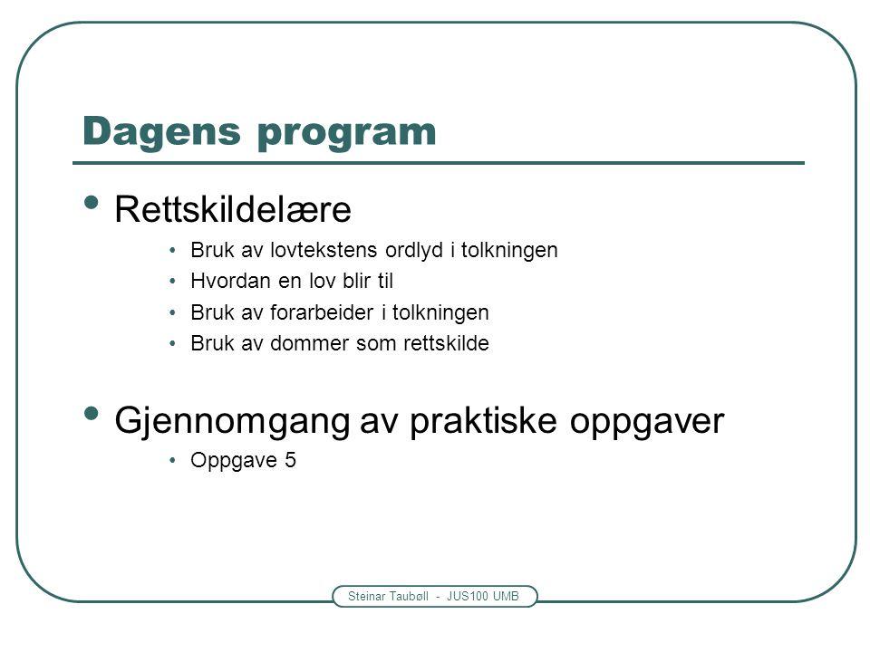 Dagens program Rettskildelære Gjennomgang av praktiske oppgaver