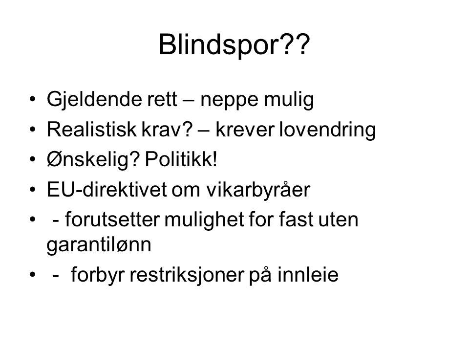 Blindspor Gjeldende rett – neppe mulig