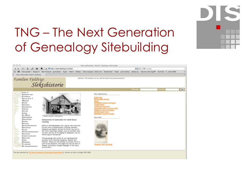 TNG – The Next Generation of Genealogy Sitebuilding