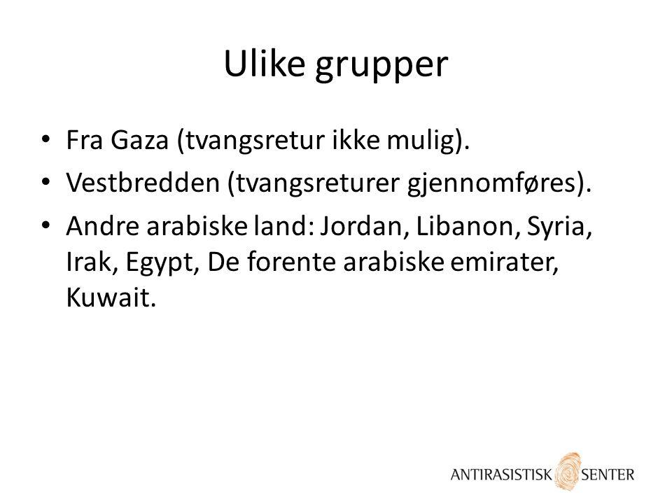 Ulike grupper Fra Gaza (tvangsretur ikke mulig).