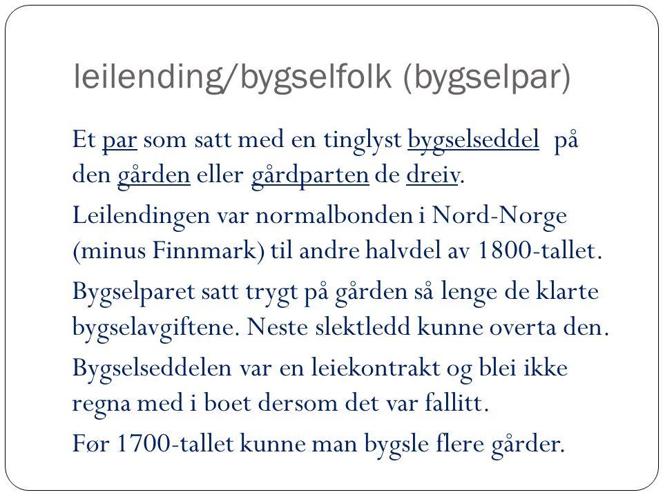 leilending/bygselfolk (bygselpar)