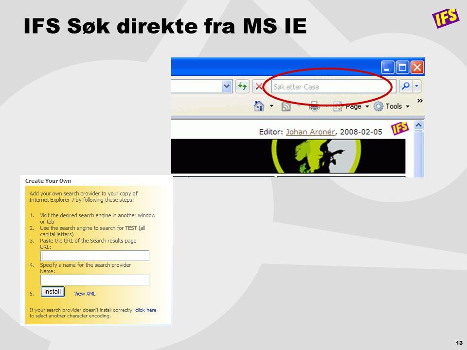 IFS Søk direkte fra MS IE