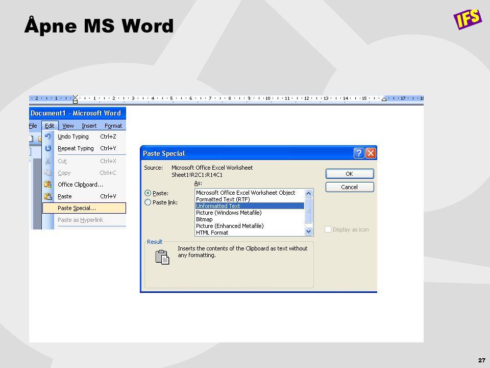 Åpne MS Word