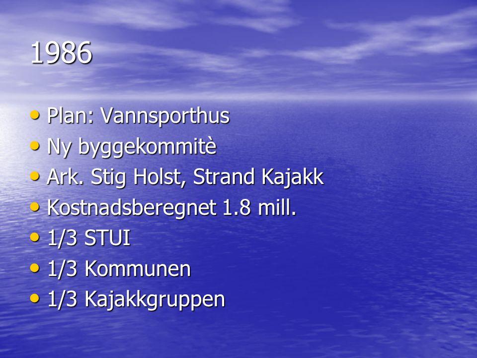 1986 Plan: Vannsporthus Ny byggekommitè Ark. Stig Holst, Strand Kajakk