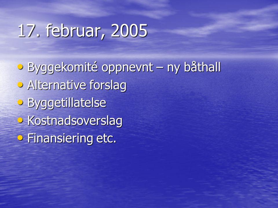 17. februar, 2005 Byggekomité oppnevnt – ny båthall