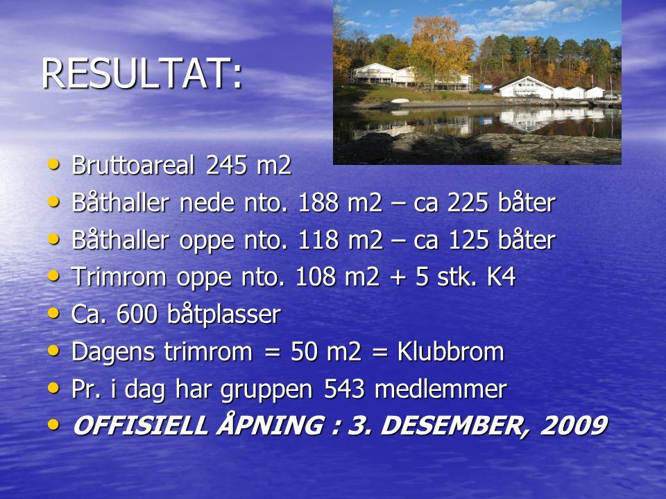 RESULTAT: Bruttoareal 245 m2 Båthaller nede nto. 188 m2 – ca 225 båter