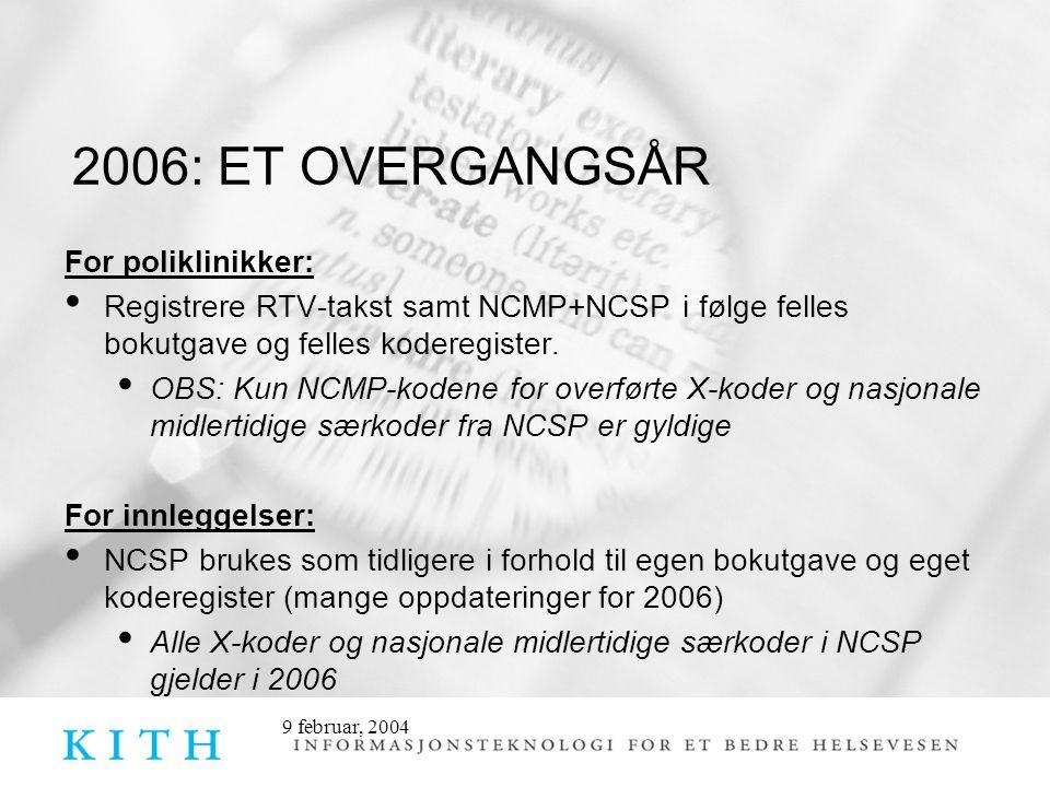 2006: ET OVERGANGSÅR For poliklinikker:
