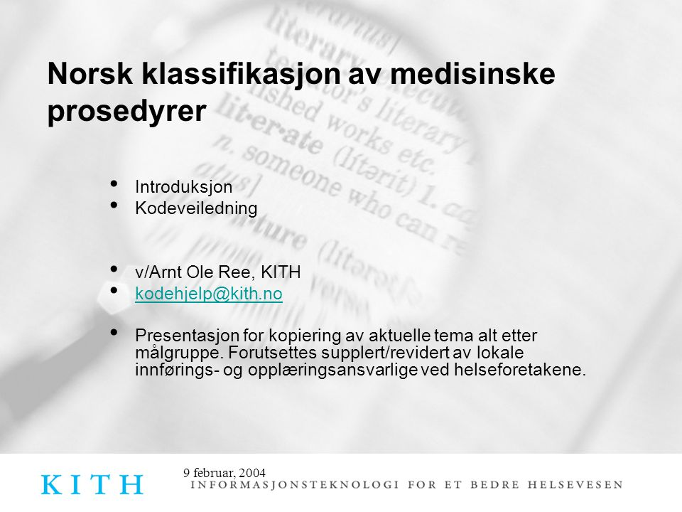 Norsk klassifikasjon av medisinske prosedyrer