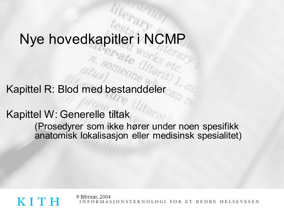 Nye hovedkapitler i NCMP