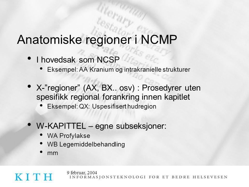 Anatomiske regioner i NCMP