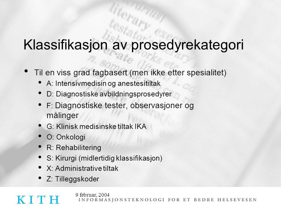 Klassifikasjon av prosedyrekategori