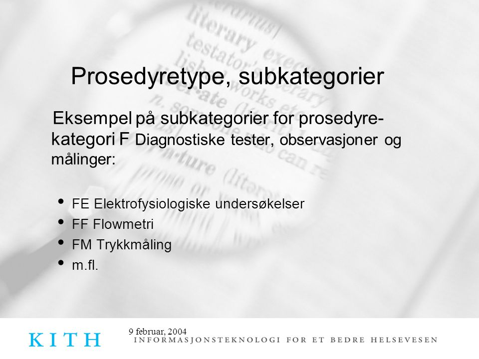 Prosedyretype, subkategorier
