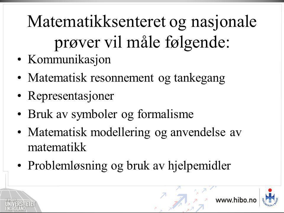 Matematikksenteret og nasjonale prøver vil måle følgende: