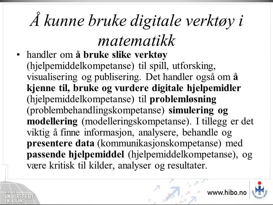 Å kunne bruke digitale verktøy i matematikk