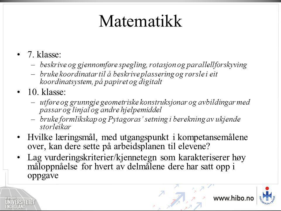 Matematikk 7. klasse: 10. klasse: