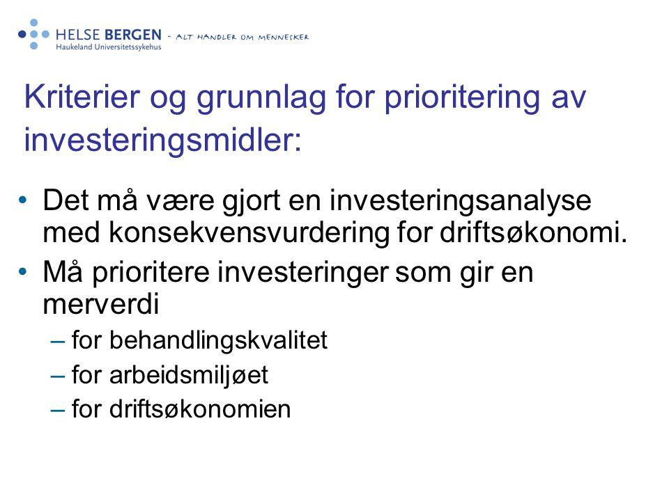 Kriterier og grunnlag for prioritering av investeringsmidler: