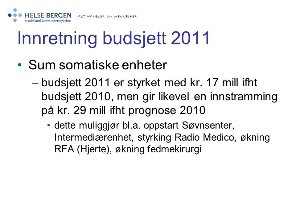 Innretning budsjett 2011 Sum somatiske enheter