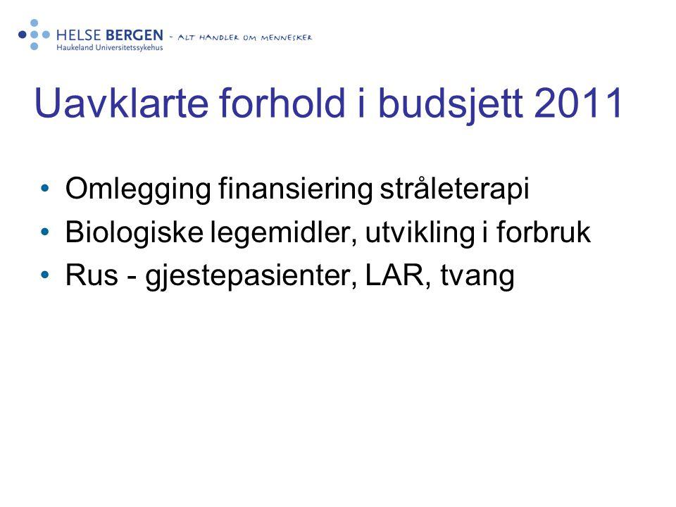 Uavklarte forhold i budsjett 2011